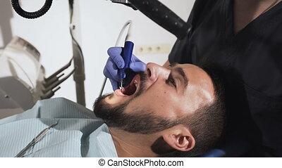 stomatological, traite, instruments, monde médical, malade, dentiste, mains, teeth.