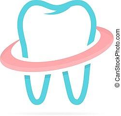 stomatologiczny, dentysta, logotype, klinika, projektować, logo, ząb, template.