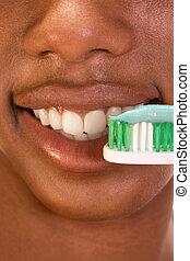 stomatologiczny, do góry, czarnoskóry, zamknięcie, dziewczyna, higiena