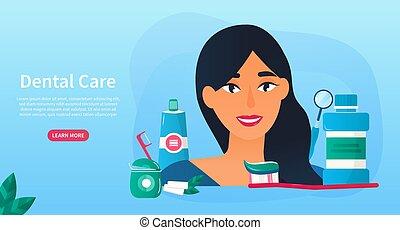 stomatologiczny, młody, wyroby, kobieta, troska