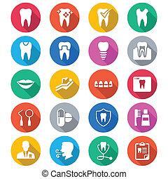 stomatologiczny, płaski, kolor, ikony