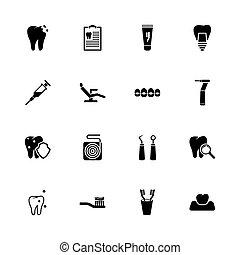stomatologiczny, -, płaski, wektor, ikony