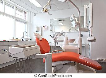 stomatologiczny, pokój, opróżniać