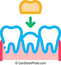 stomatology, 線, 薄くなりなさい, 印, 歯, ベクトル, 王冠, アイコン