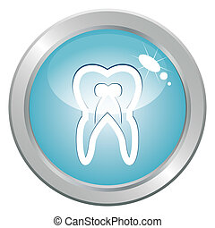 Stomatology button with tooth. Medical health care treatment...