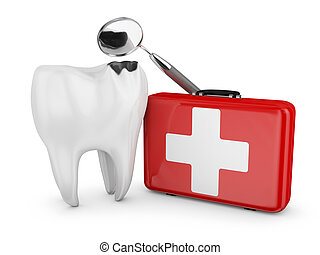 stomatology - decayed tooth, a dental mirror and a red ...