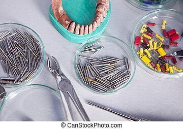 Stomatology health care - Dentist equipment on blue...
