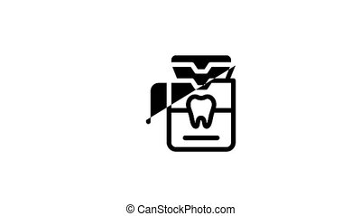 Stomatology Icon Animation Stomatology Dentist Equipment And Chair, Healthy And Unhealthy Tooth Pictograms. Jaw Denture, Injection Anesthesia
