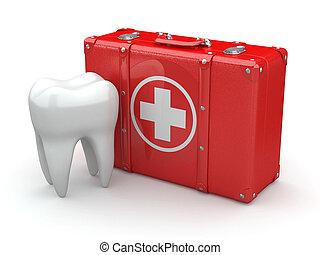 stomatology., monde médical, kit., dent