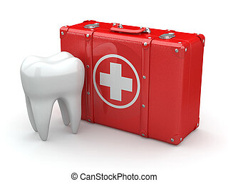 Stomatology. Tooth and Medical Kit on white isolated background. 3d
