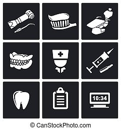 Stomatology Vector Icons Set - Medicine Icon flat collection...