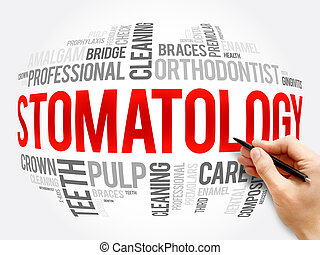 Stomatology word cloud collage, health concept