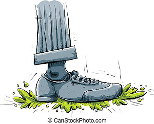 A cartoon foot stomps on some green slime.