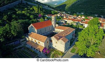 Ston church oncaming shot, aerial