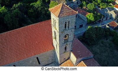 Ston church tower, aerial