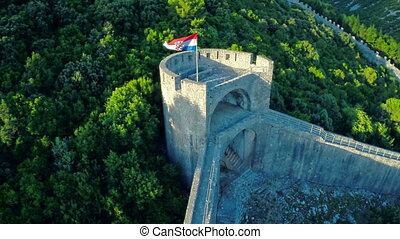 Ston north tower, aerial - Copter aerial view of the Ston ...