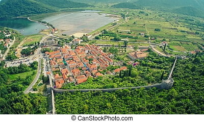 Ston on Peljesac peninsula, aerial