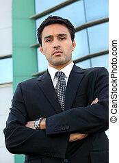 stond, kantoor, jonge, zeker, buiten, zakenman