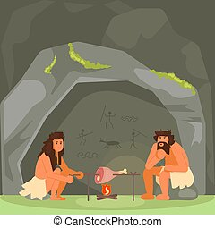 Stone age couple cooking meat vector illustration - Stone ...