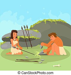 Stone age couple making spears vector illustration - Stone ...