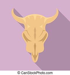 Stone age cow skull icon, flat style