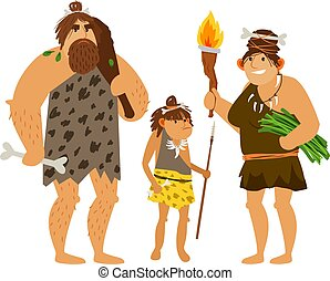 Stone age family. Vector prehistoric time woman, cave man and ancient daughter kid isolated on white background