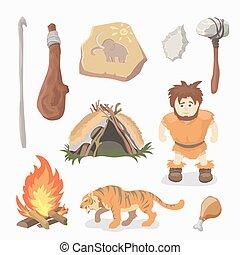 Stone Age icons Primitive man. Cavemen. Neanderthals. Homo sapiens. Evolution. Hunting.