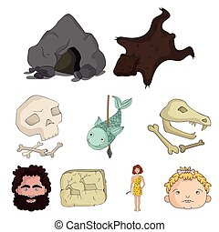 Stone age set icons in cartoon style. Big collection of stone age vector symbol stock illustration