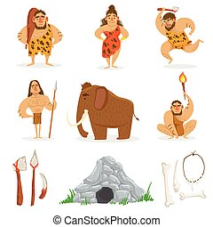 Stone Age Tribe People And Related Objects. Cute Cartoon Childish Style Illustrations Isolated On White Background.