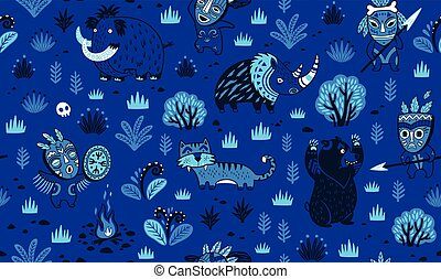 Stone Age vector pattern in blue night colors