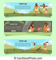 Stone age vector web banner template set