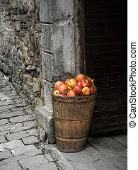Stone and apples