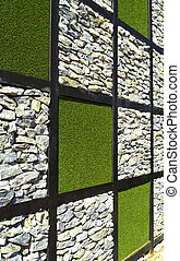 Stone and Artificial grass wall