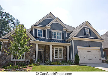 Stone and Grey Siding House