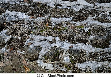 Stone and mortar background - Grey stone and mortar