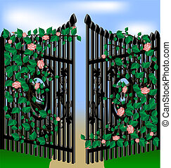 stone and roses - old gates, overgrown with pink roses,...