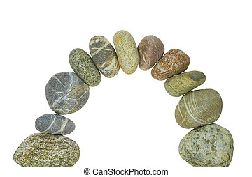 stone Arch - An arch of pebbles against white background.
