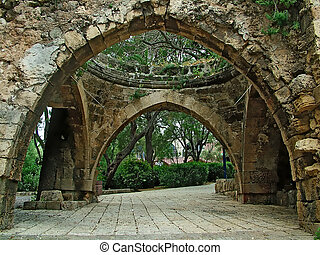 Stone arch - Ancient part of Jaffa , Israel