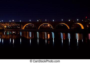 Stone Arch Bridge and Lock at Night