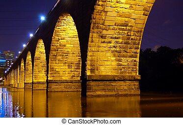 Stone Arch Bridge at Nigh - Minneapolis Landmark at night