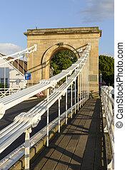 stone arch of old suspension bridge, Marlow