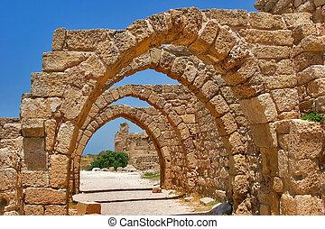 Stone arches. - National park Caesarea on coast of...