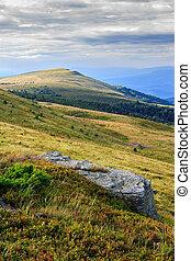 stone at the way to far away mountain - large stone blocks...