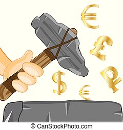 Stone axe in hand and money signs