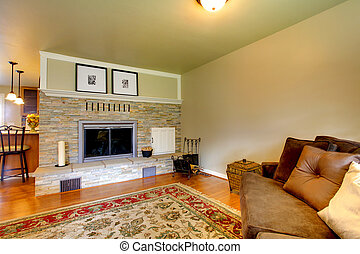 Stone background fireplace for living room