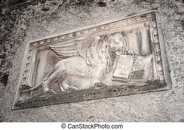 Stone bas-relief of the Venetian lion