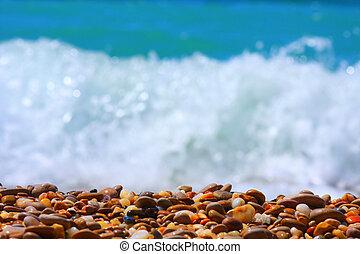 stone beach and sea wave