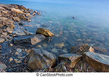 Stone beach of the Black Sea, Anapa, Russia