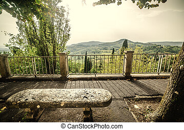 Stone bench in Tuscany