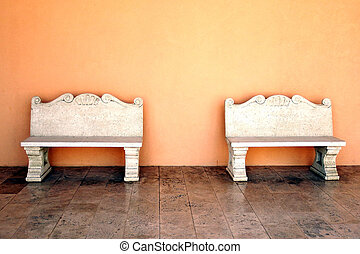 stone bench on the wall background